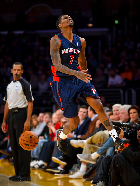 . Detroit�s Brandon Jennings misses a pass and looses the ball to the Lakers during second half action at Staples Center Sunday, November 17, 2013.  The Lakers defeated the Detroit Pistons 114-99.  ( Photo by David Crane/Los Angeles Daily News )