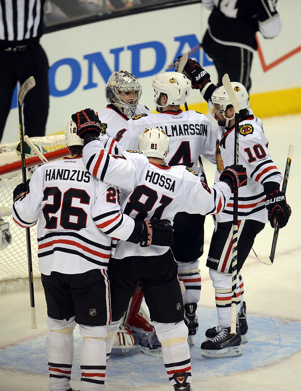 . The Blackhawks celebrate their 3-2 victory over the Kings during game 4 of the Western Conference finals at the Staples Center in Los Angeles June 6, 2013. (David Crane/Los Angeles Daily News)