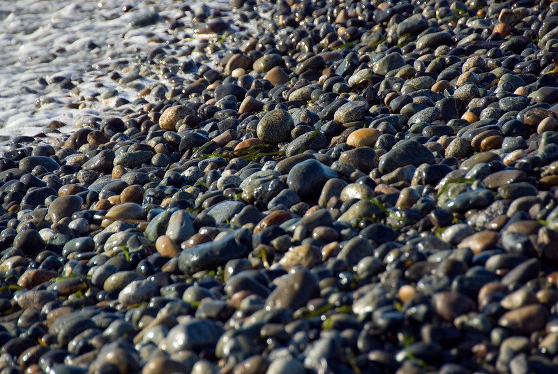 Pebbles on the beach in Point Roberts, Washington