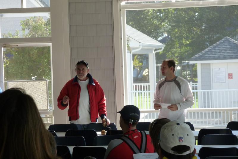 191498 Alain Vincey and Jon Deutsch at the skipper's meeting.  (Photo by Stan Deutsch)