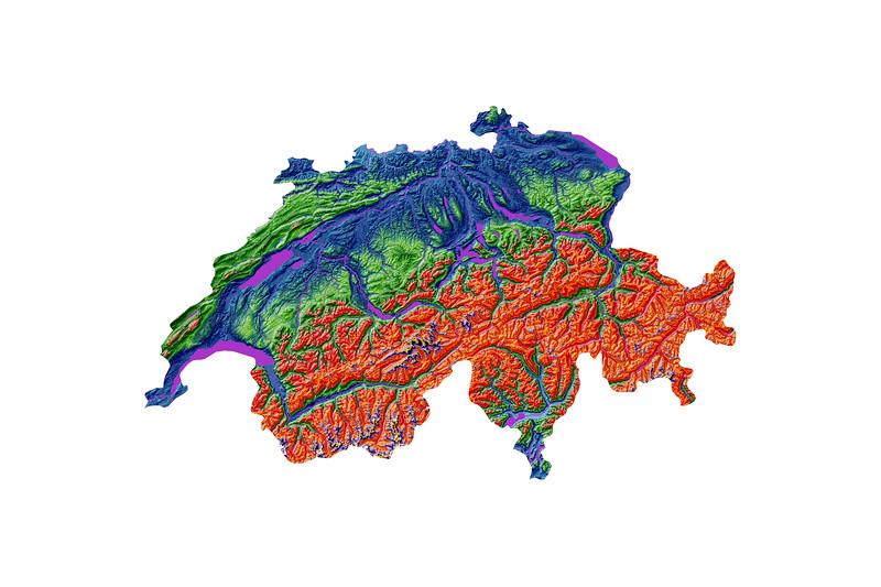 Elevation map of Switzerland