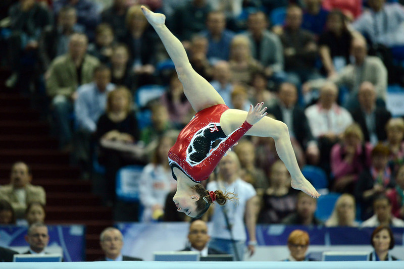 . Italy\'s Carlotta Ferlito competes on the floor in the women\'s apparatus artistic gymnastics  finals during  the 5th European Men\'s and Women\'s   Artistic Gymnastic Individual  Championships in Moscow on April   21, 2013. Russia\'s Kseniia Afanaseva  took the first place, Romania\'s Larisa Andreea Iordache took the  second place and Romania\'s Diana Laura Bulimar took the third  place. NATALIA KOLESNIKOVA/AFP/Getty Images
