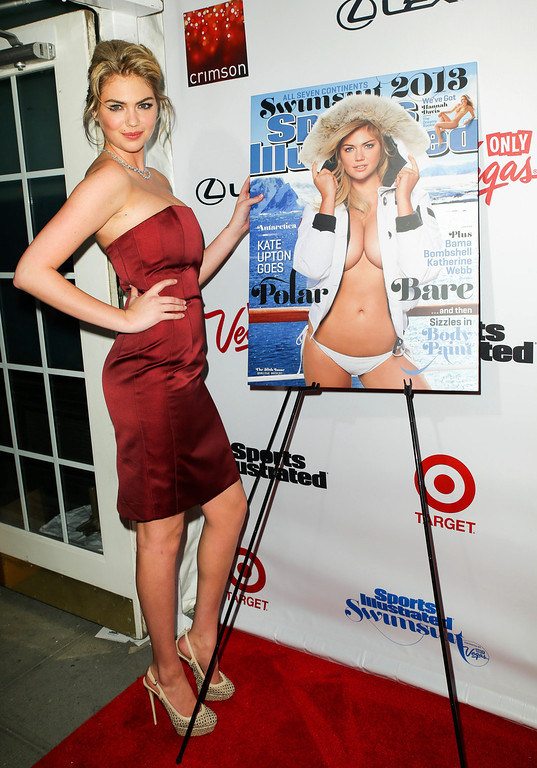 . This image released by Starpix shows cover model Kate Upton at the 2013 Sports Illustrated Swimsuit issue launch party at Crimson on Tuesday, Feb. 12, 2013 in New York. (AP Photo/Starpix, Andrew Toth)