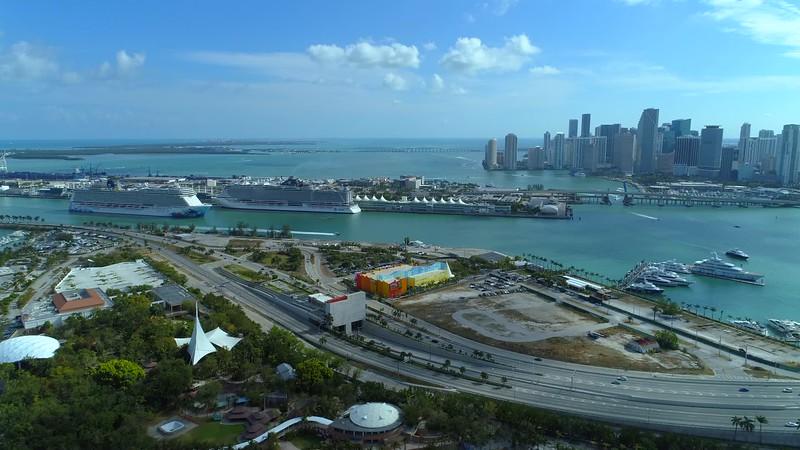Aerial drone Miami footage port harbor 4k 24p