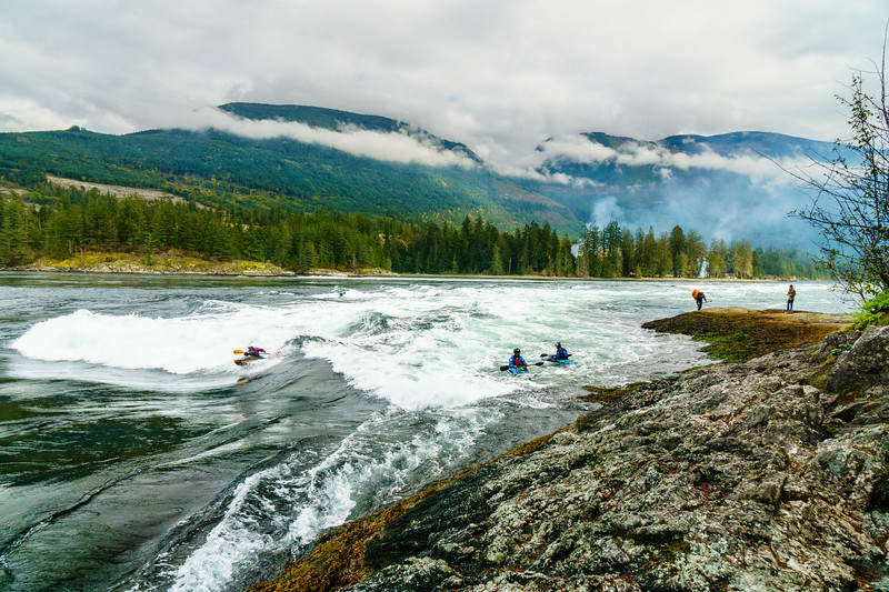 A typical kayaking scene at Skookumchuck Narrows Provincial Park in British Columbia.