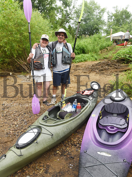 Harold Aughton/Butler Eagle: Mary Ann Goode of Export (left) joined her brother, Fran Lunz of Penn Twp. Saturday for the 7.5 mile Kayak race down the Connoquenessing Creek.