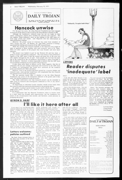 Daily Trojan, Vol. 62, No. 66, February 10, 1971