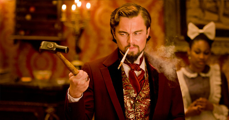 ". This undated publicity file image released by The Weinstein Company shows Leonardo DiCaprio as Calvin Candle in ""Django Unchained,\"" directed by Quentin Tarantino.  (AP Photo/The Weinstein Company, Andrew Cooper, SMPSP, File)"