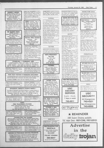Daily Trojan, Vol. 108, No. 10, January 26, 1989