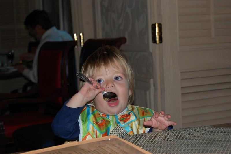 Elliot with a big-boy spoon
