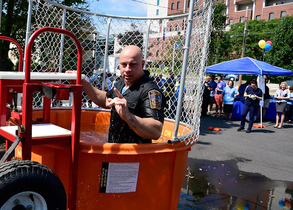 9/6/2018 Mike Orazzi | Staff Bristol Police Chief Brian Gould while in the dunk tank during an employee fundraising campaign called the &quote;Operation ERgency&quote; campaign to raise funds for our Emergency Center Thursday in Bristol.