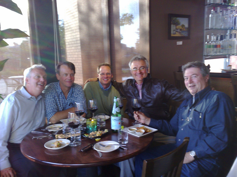 Friday Evening with the Boys  Barry, Dave, Mike, me, and Jim - and a lovely Napa Valley red.