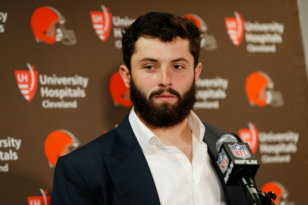 . quarterback Baker Mayfield speaks during a news conference after a preseason NFL football game Thursday, Aug. 9, 2018, in East Rutherford, N.J. The Browns won 20-10. (AP Photo/Adam Hunger)