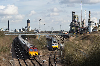 Class 60066 Drax waits at Humber Refinery boundary for Drax bound loaded biomass to pass