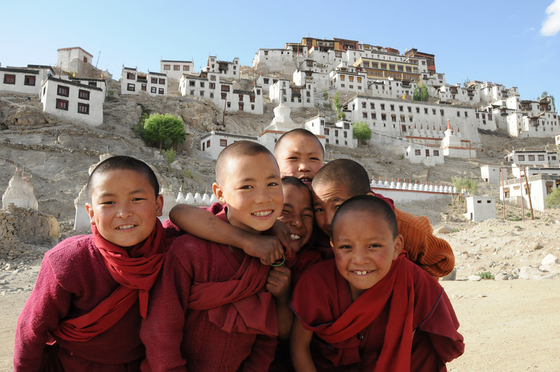 Young monks at Thiksey Monastery in India
