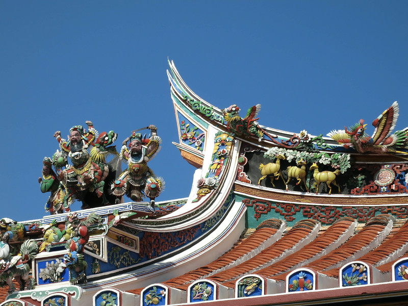 Ridgetop sculptures at Cheng Hoon Tong Temple, oldest in Malaysia