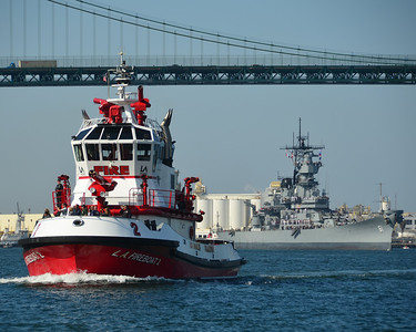 USS Iowa Berths at the Port of Los Angeles (LAFD)