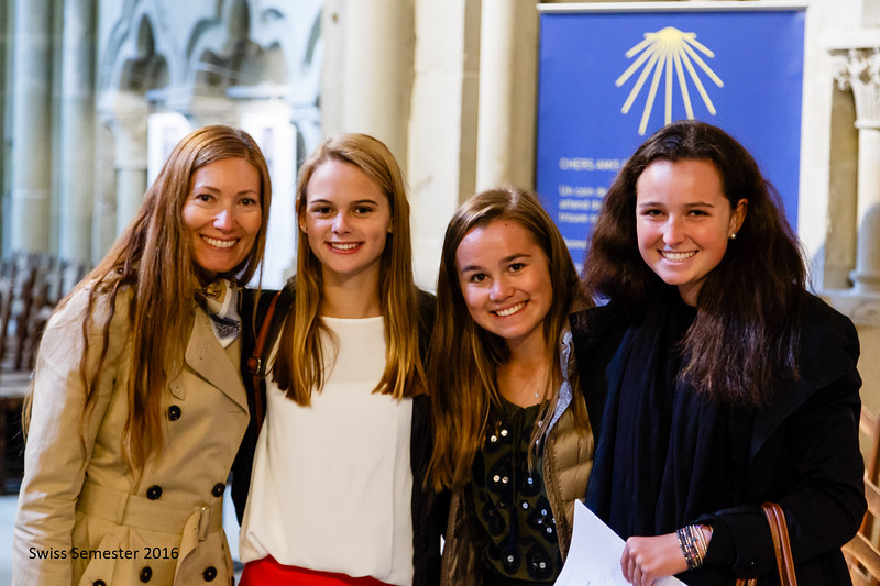 Ms. Brouillac, Shea, Penelope, and Peyton inside the Cathedral in Lausanne