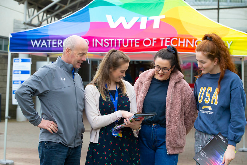 30/03/2019. FREE TO USE IMAGE. Thousands of CAO, part-time and postgraduate applicants visited WIT's Spring open events on Friday evening and Saturday morning. WIT is Ireland's top ranked institute of technology. Pictured are Niall Malone, Roisin O'Donovan and Rebecca Malone from Clonaslee, Co Laois with Aine Byrne student ambassador. Picture: Patrick Browne