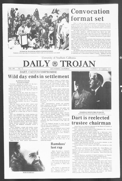Daily Trojan, Vol. 62, No. 13, October 08, 1970