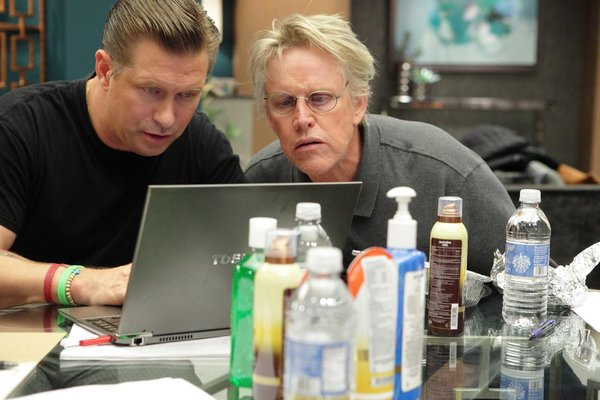 ". ALL-STAR CELEBRITY APPRENTICE -- ""The First Leaf That Hits the Ground\"" Episode 1307-- Pictured: (l-r) Stephen Baldwin, Gary Busey -- (Photo by: Douglas Gorenstein/NBC)"