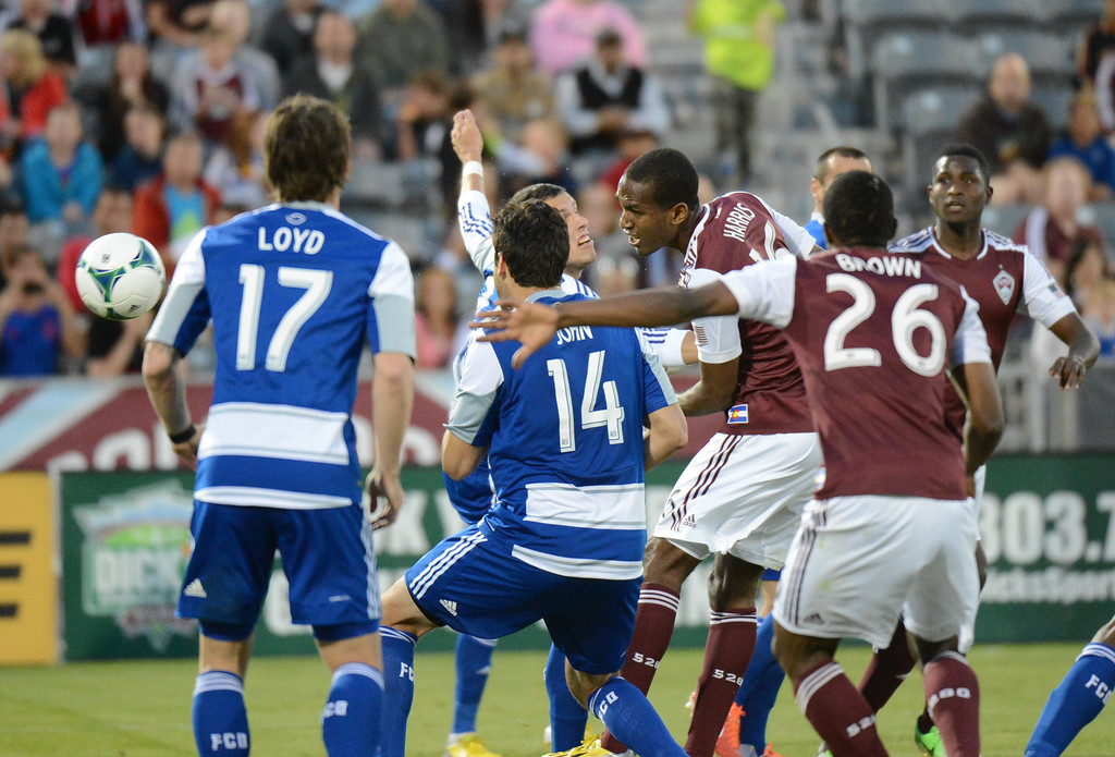 . COMMERCE CITY, CO. - June 01: Atiba Harris of Colorado Rapids (16) scores with header in the 2nd half of the game against FC Dallas at Dick\'s Sporting Goods Park. Commerce City, Colorado. June 1, 2013. Game tied 2-2. (Photo By Hyoung Chang/The Denver Post)