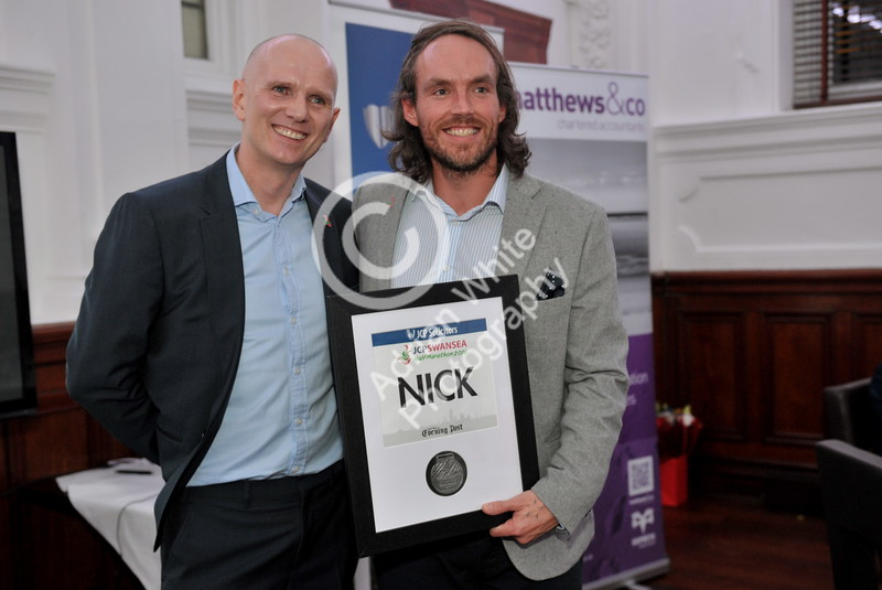"SWANSEA / Copyright Adrian White Sunday 29th January 2017 News and Society PIX  BYLINE www.click4prints.com JCP Swansea Half Marathon Gets Set to Celebrate Official Launch at the Morgan Hotel, Swansea  Pictured David Martin Jewel and Nick Francis  The evening celebration took place place on Friday 27th January at Morgans Hotel, where sponsors and supporters of the JCP Swansea Half Marathon celebrated the success of 2016 and the unveiling of the new company Front Runner Events.      David Martin-Jewell, managing director of Front Runners Events said:  	""We are extremely proud to announce that we have grown our business into a multi event company.  Having recently taken over Llanelli Half Marathon we felt it was a key time to rebrand and announce the new company of Front Runner Events.  We are an ambitious team and plan to further develop races across South West Wales."""