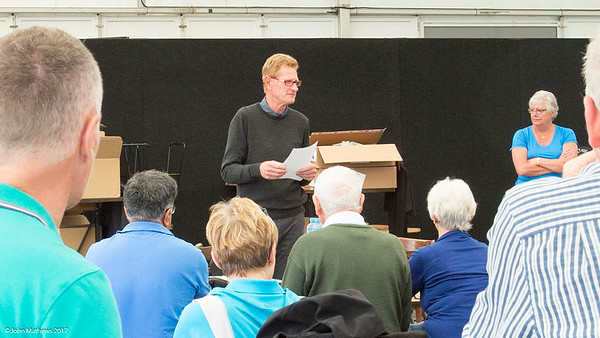 Photo of Peter Hazledine briefing volunteers at  Royal Wellington Golf Club immediately prior to the hosting of the Asia-Pacific Amateur Championship tournament 2017 held in Heretaunga, Upper Hutt, New Zealand in late October 2017. Copyright John Mathews 2017.   www.megasportmedia.co.nz