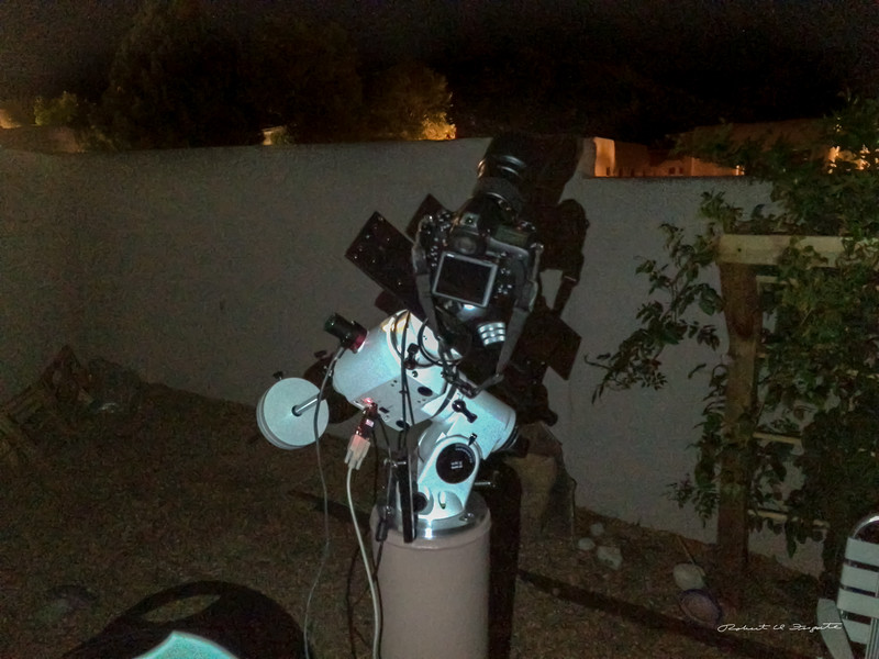 Setup on the first night using the Nikon D850 and 135 mm lens. 10 minute unguided exposures shows only a hint of star trailing.