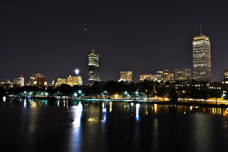 9/11/2010.  Boston is stunning at night (as well as day).  Note the great star above the Hancock Building.