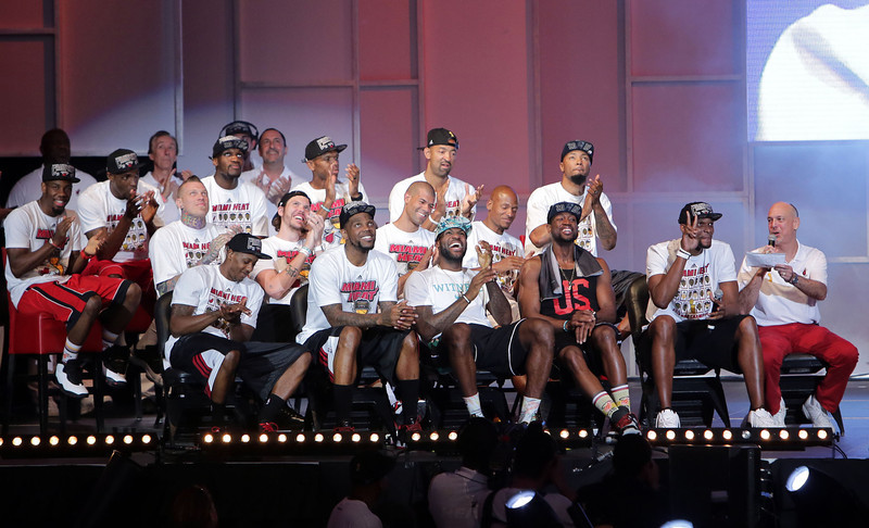 . The Miami Heat attend their NBA Championship victory rally at the AmericanAirlines Arena on June 24, 2013 in Miami, Florida. The Miami Heat defeated the San Antonio Spurs in the NBA Finals.  (Photo by Alexander Tamargo/Getty Images)