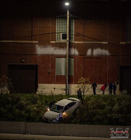 Detroit MI, Car off Road 11-1-2020