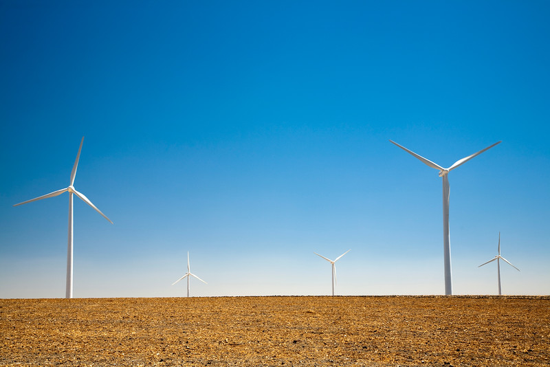 Electric generating windmills, town of Sanlucar de Barrameda, province of Cadiz, Andalusia, Spain.
