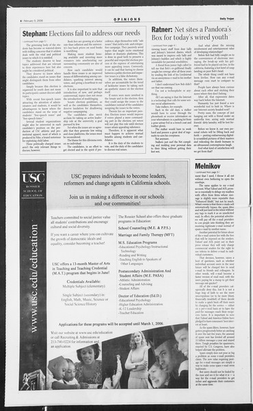 Daily Trojan, Vol. 157, No. 21, February 09, 2006