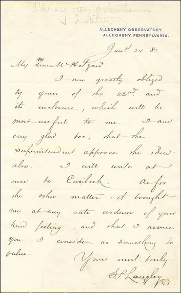 Letter from Samel P. Langley, dated Jan 24, 1887. Dr Langley was then Director of Allegheny Observatory at its original location. Image was obtained courtsey of the Galley of History, Inc.