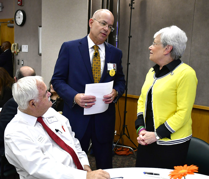 10/2/2018 Mike Orazzi | Staff State Rep. Whit Betts and Bristol Hospital President and CEO Kurt Barwis during a Hospital Champion Award breakfast ceremony honoring Lt. Gov. Nancy Wyman Tuesday morning.