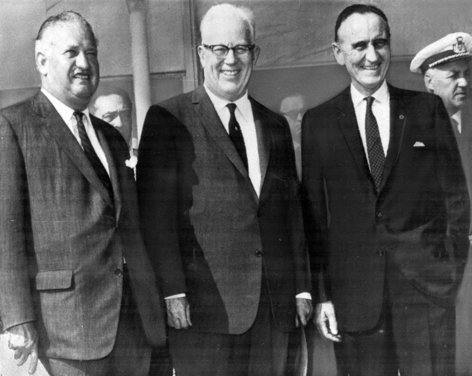 . These three men will represent the U.S. at the coronation of Pope Paul VI as pontiff of the Roman Catholic church, from left to right: Charles W. Engelhard, New Jersey industrialist; Earl Warren, Chief Justice of the U.S. Supreme Court; and Sen. Mike Mansfield (D-Montana), Senate Majority leader, seen at Rome Airport, June 2, 1963 just after their arrival.  (AP Photo)