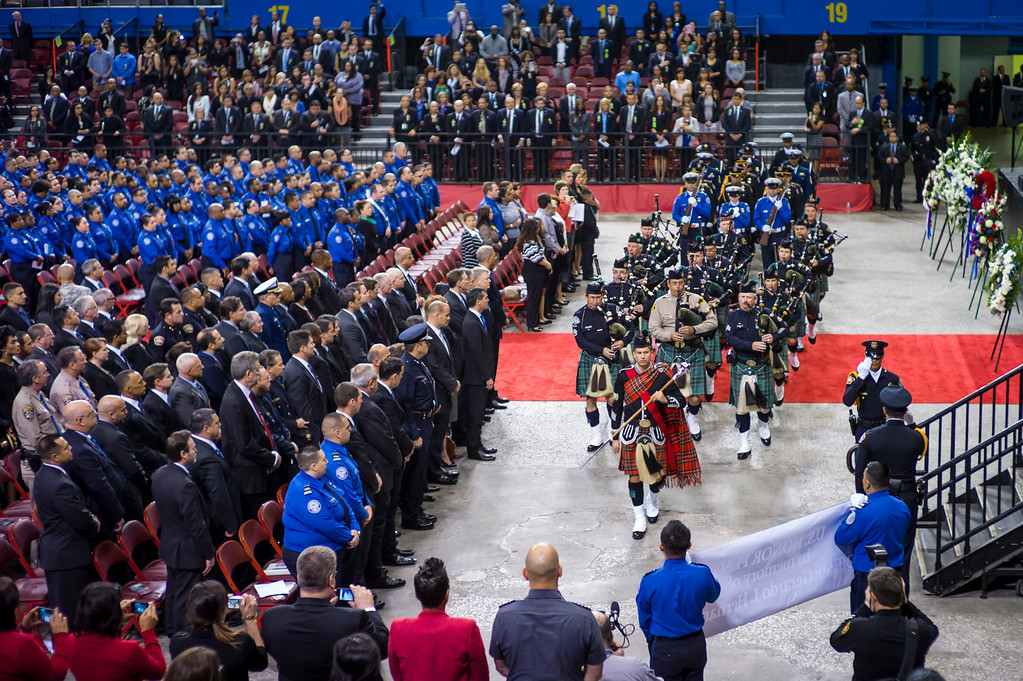 . The Los Angeles Sheriff bagpipers arrive at the memorial for slain TSA officer Gerardo Hernandez at the Los Angeles Sports Arena Tuesday, November 12, 2013.  A public memorial was held for Officer Gerardo who was killed at LAX when a gunman entered terminal 3 and opened fire with a semi-automatic rifle.  ( Photo by David Crane/Los Angeles Daily News )