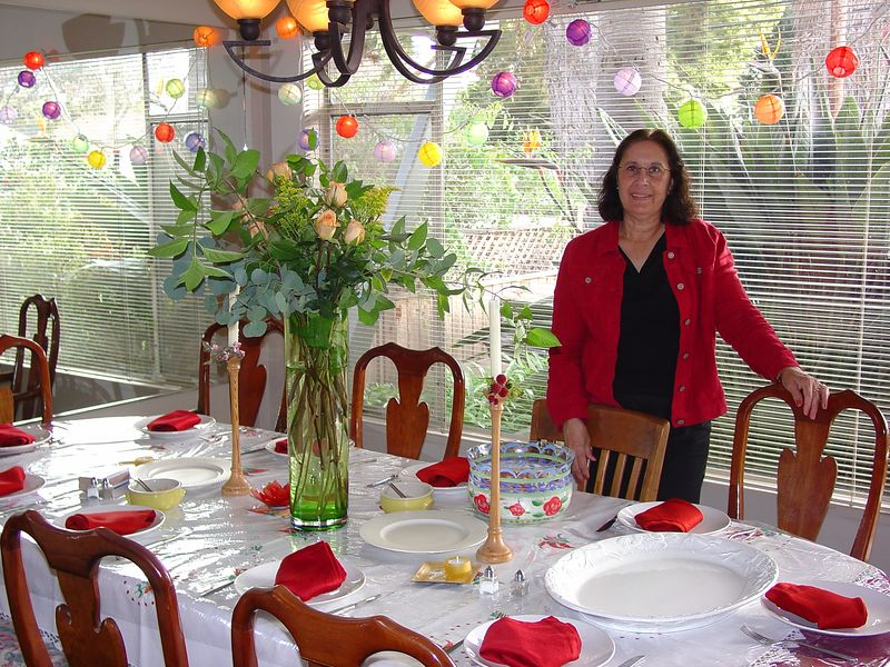 mum in front of the dinner table