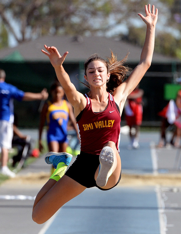 . Simi Valley\'s Madisen Richards competes in the long jump during the CIF-SS Masters Track and Field meet at Falcon Field on the campus of Cerritos College in Norwalk, Calif., on Friday, May 30, 2014.   (Keith Birmingham/Pasadena Star-News)