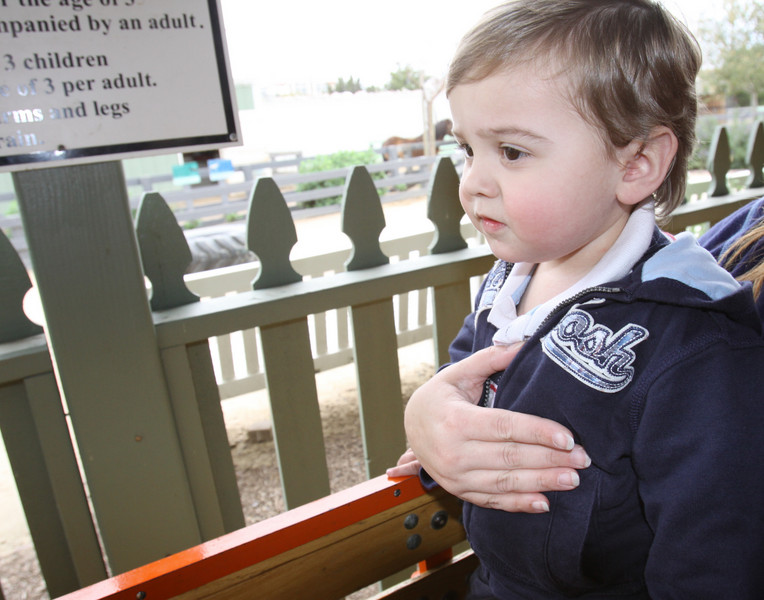 Riding the train at the Santa Ana Zoo! 