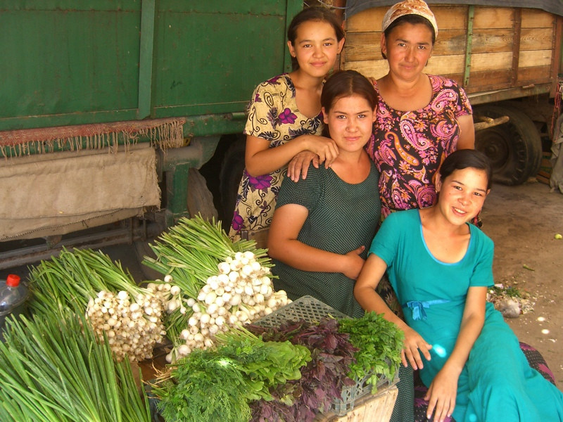 Mother and Daughters at Market - Konye-Urgench, Turkmenistan
