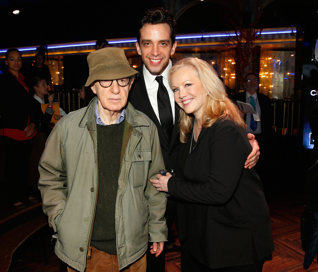 . (L-R) Woody Allen, Nick Cordero and Susan Stroman attend the 2014 Tony Awards Meet The Nominees Press Reception at the Paramount Hotel on April 30, 2014 in New York City.  (Photo by Jemal Countess/Getty Images for Tony Awards Productions)