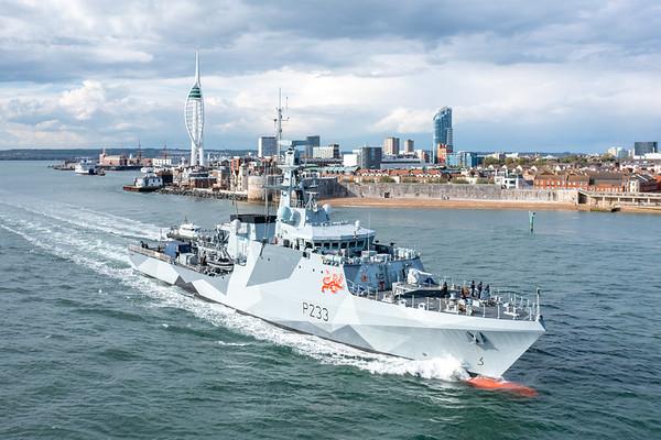 HMS Tamar departing HMNB Portsmouth