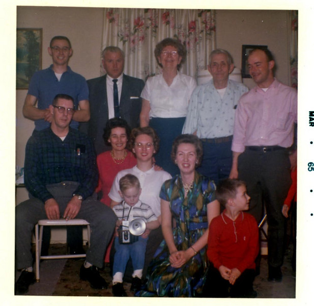 Back: Harrie, Amelia's friend Gene, Eva, Sanford, Alvin Grovogel. Front: Ray Clark, Amelia, Evelyn & Jay Kohls, Doris & Dale Grovogel