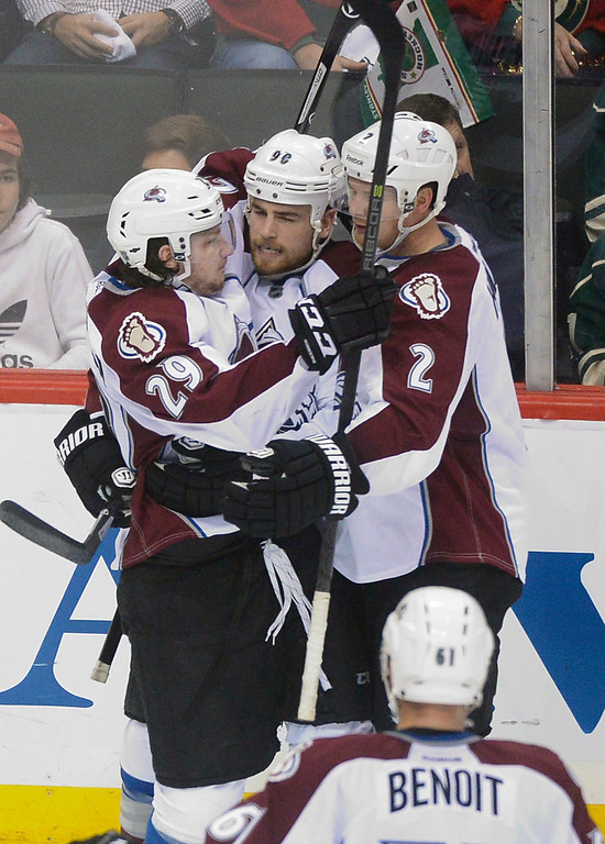 . Nathan MacKinnon Ryan O\'Reilly Nick Holden and Andre Benoit celebrated a goal in the second period.   (Photo by Karl Gehring/The Denver Post)