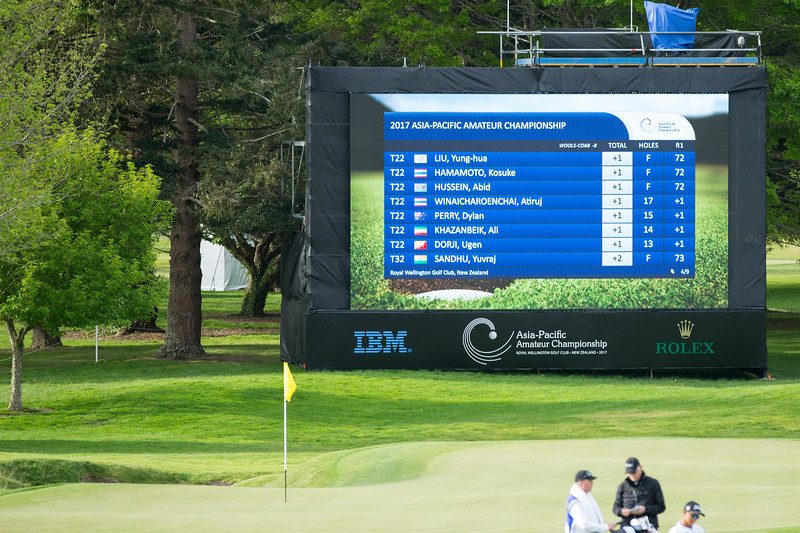 Leaderboard (page 5) at 6.00pm on Action from the 1st day of competition in the Asia-Pacific Amateur Championship tournament 2017 held at Royal Wellington Golf Club, in Heretaunga, Upper Hutt, New Zealand from 26 - 29 October 2017. Copyright John Mathews 2017.   www.megasportmedia.co.nz