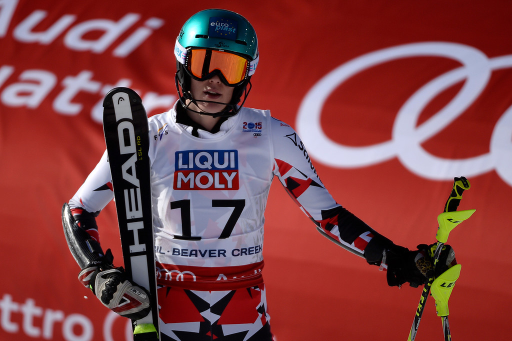 . Carmen Thalmann of Austria reacts to her run during the ladies\' slalom. FIS Alpine World Ski Championships 2015 on Saturday, February 14, 2015. (Photo by AAron Ontiveroz/The Denver Post)