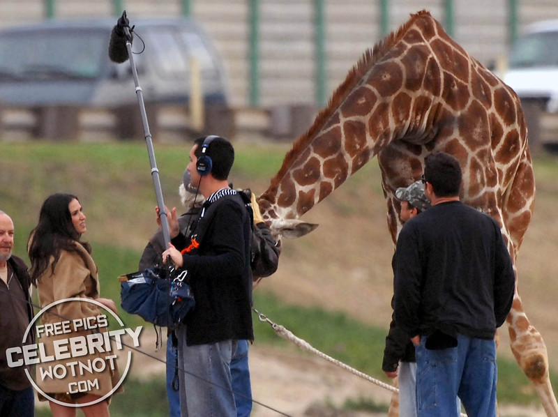 EXC: Demi Moore Has A Photo Shoot With A Giraffe On The Beach!