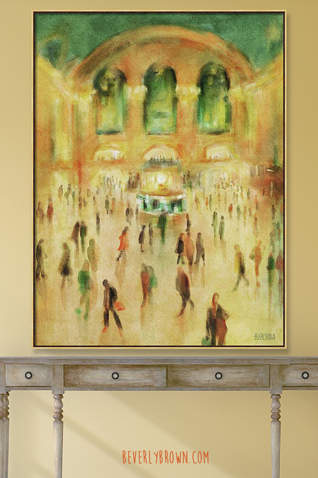 Console table in room with yellow walls with large canvas wall art painting print of Grand Central Terminal New York City by Beverly Brown